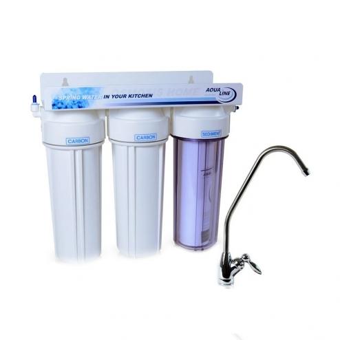 Фото 1 - На изображении Проточный фильтр Aqualine MF3 (3 ступени)