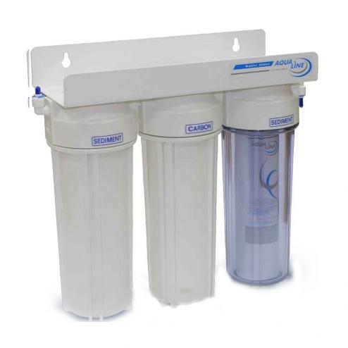 Фото 2 - На изображении Проточный фильтр Aqualine MF3 (3 ступени)