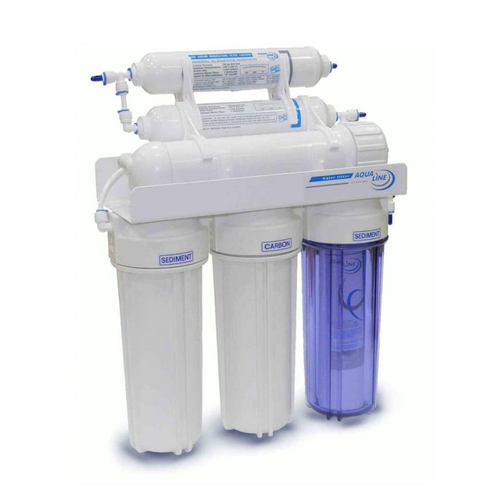 На изображении Фильтр обратного осмоса Aqualine RO-6 bio