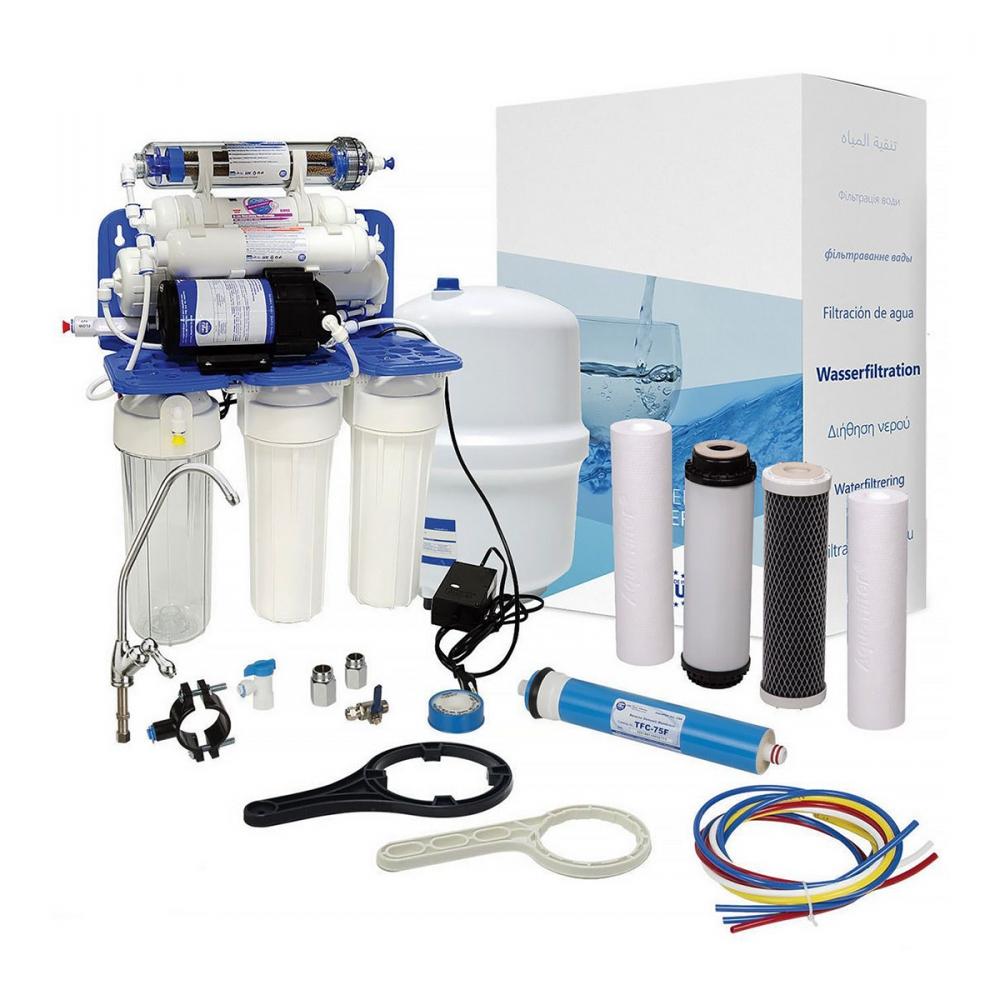 На изображении Система обратного осмоса Aquafilter RP-RO7-75 с насосом и ионизатором AIFIR2000
