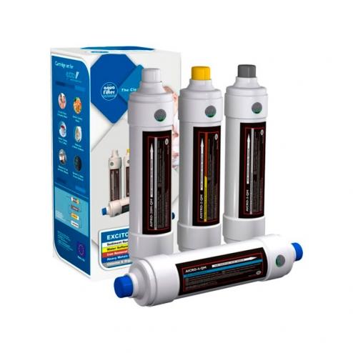 Фото 1 - На изображении Комплект картриджей для проточного фильтра Aquafilter EXCITO-B-CLR-CRT