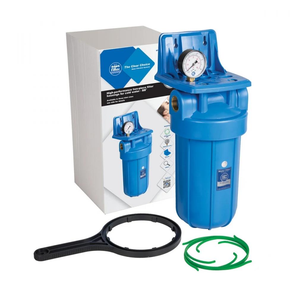 На изображении Фильтр Aquafilter Big Blue 10 с манометром без картриджа
