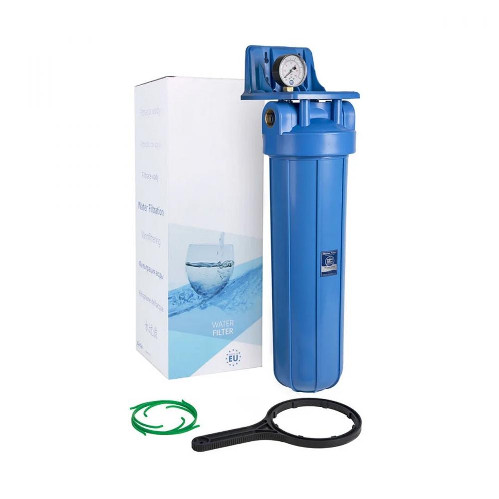 На изображении Фильтр Aquafilter Big Blue 20 с манометром без картриджа