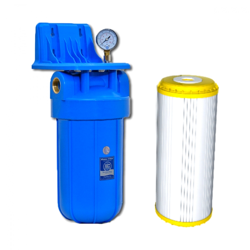 На изображении Фильтр Aquafilter Big Blue 10 с умягчающим картриджем и манометром
