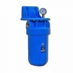 Фото 2 - На изображении Фильтр Aquafilter Big Blue 10 с умягчающим картриджем и манометром