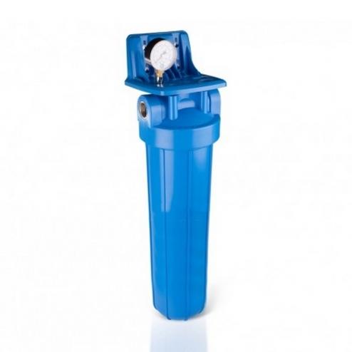 Фото 1 - На изображении Фильтр Aquafilter Big Blue 20 с умягчающим картриджем и манометром