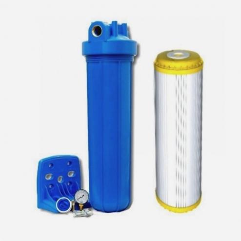 Фото 2 - На изображении Фильтр Aquafilter Big Blue 20 с умягчающим картриджем и манометром