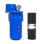 Фото 1 - На изображении Фильтр Aquafilter Big Blue 10 с угольным картриджем и манометром