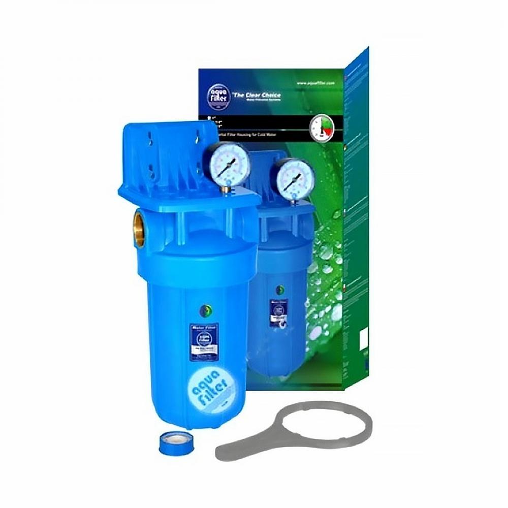 На изображении Фильтр Aquafilter Big Blue 10 с угольным картриджем и манометром