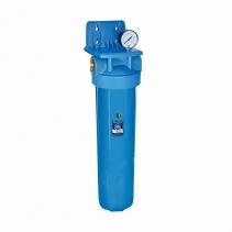 На изображении Фильтр Aquafilter Big Blue 20 Кентавр с угольным картриджем и манометром