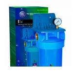 Фото 2 - На изображении Фильтр Aquafilter Big Blue 20 Кентавр с угольным картриджем и манометром