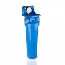 На изображении Фильтр Aquafilter Big Blue 20 с угольным картриджем и манометром