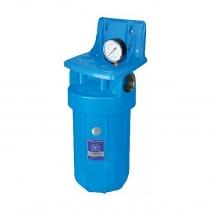 На изображении Фильтр Aquafilter Big Blue 10 с механическим картриджем и манометром