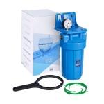 Фото 2 - На изображении Фильтр Aquafilter Big Blue 10 с механическим картриджем и манометром