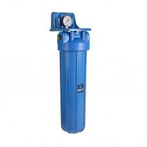 На изображении Фильтр Aquafilter Big Blue 20 с механическим картриджем и манометром