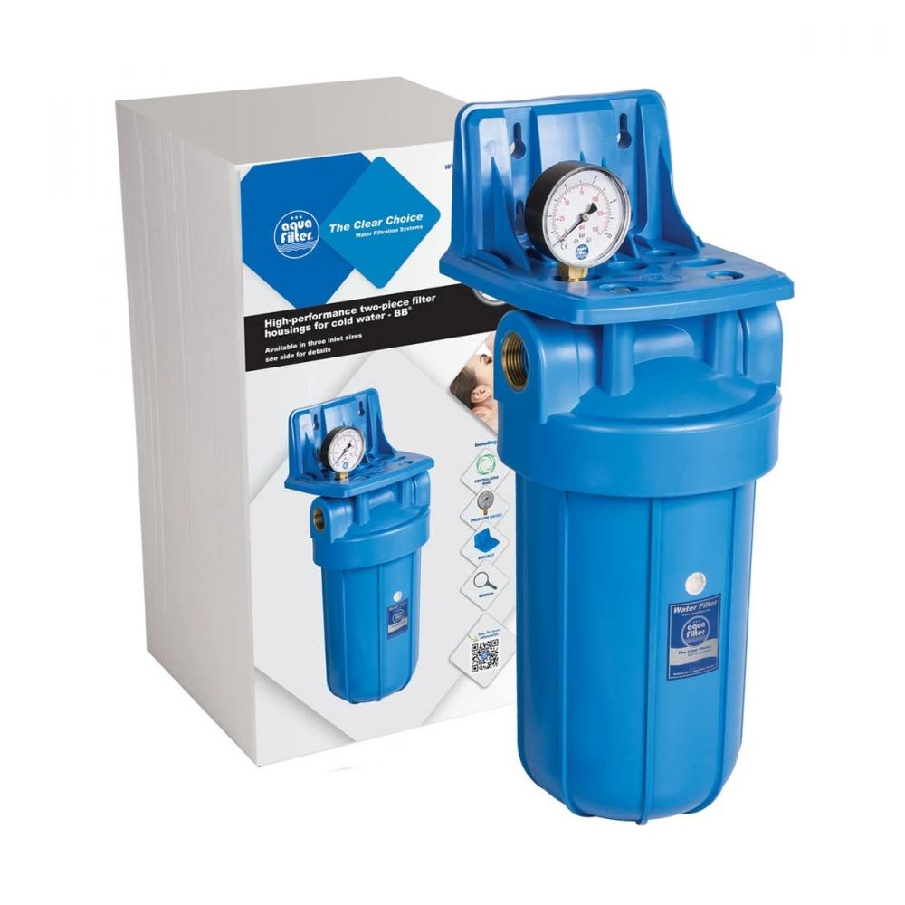 На изображении Фильтр Aquafilter Big Blue 10 с обезжелезивающим картриджем и манометром