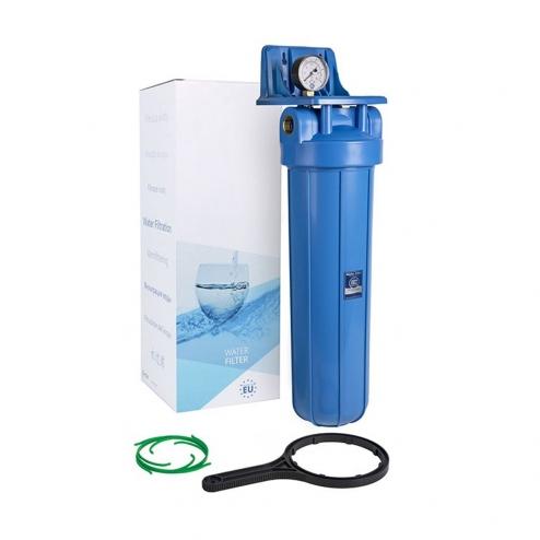 Фото 1 - На изображении Фильтр Aquafilter Big Blue 20 с обезжелезивающим картриджем и манометром