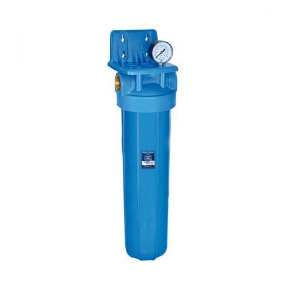 На изображении Фильтр Aquafilter Big Blue 20 с обезжелезивающим картриджем и манометром