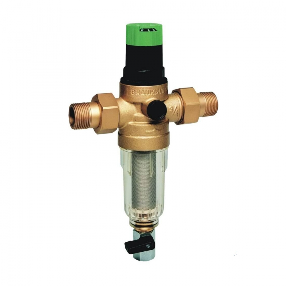 На изображении Фильтр механической очистки HoneyWell (Resideo Braukmann) FK06-AA 3/4 с редуктором