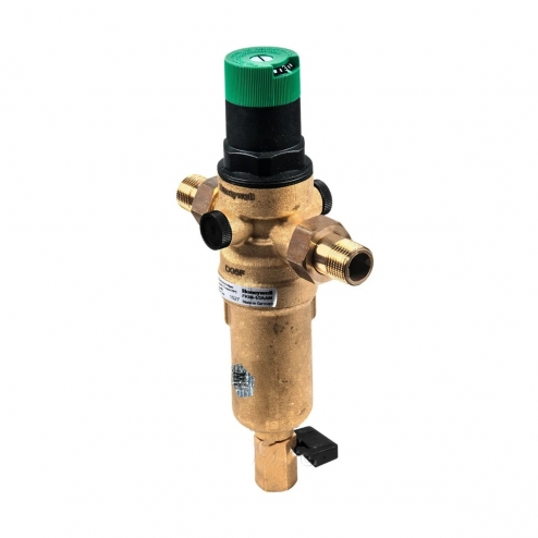 Фото 2 - На изображении Фильтр механической очистки HoneyWell FK06-1 AAM для горячей воды с редуктором