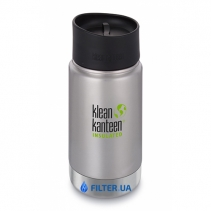 На изображении Термофляга Klean Kanteen Wide Vacuum Insulated Cafe Cap Brushed Stainless 355 ml