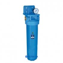 На зображенні Фільтр Aquafilter Big Blue 20 Центавр з вугільним картриджем та манометром