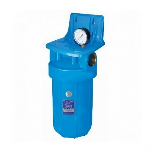 Фото 1 - На зображенні Фільтр Aquafilter Big Blue 10 з знезалізнюючим картриджем і манометром