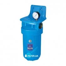 На зображенні Фільтр Aquafilter Big Blue 10 з картриджем видалення заліза та манометром