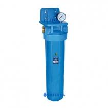 На зображенні Фільтр Aquafilter Big Blue 20 з картриджем видалення заліза та манометром