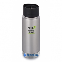 На зображенні Термофляга Klean Kanteen Wide Vacuum Insulated Cafe Cap Brushed Stainless 592 ml
